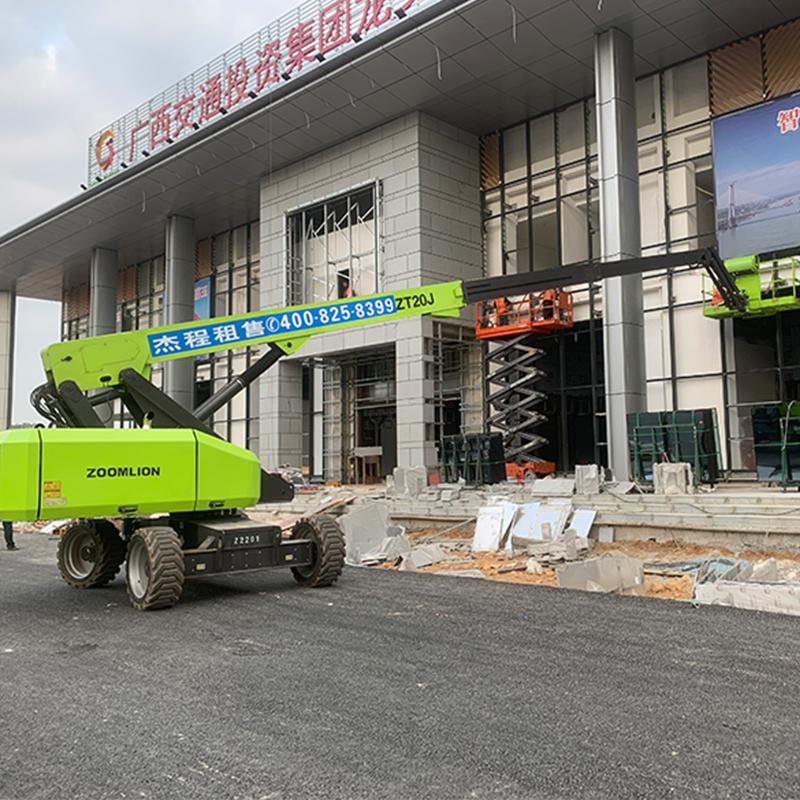 高空车出租应用于广西荔玉高速服务区建设工程