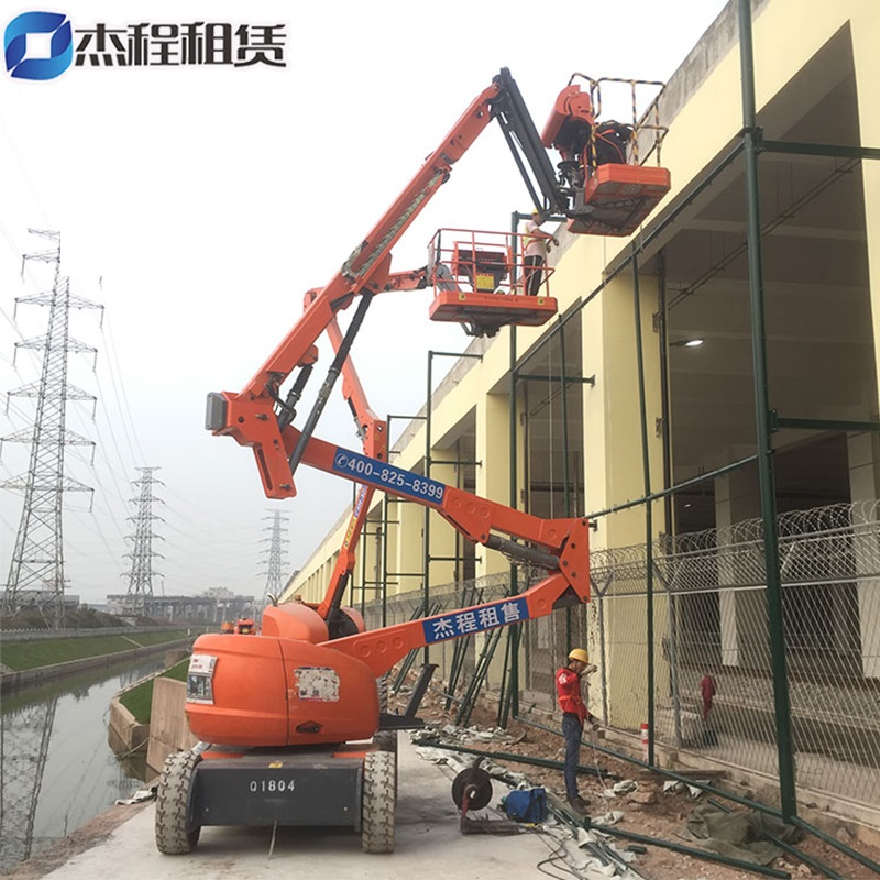 曲臂高空车出租应用于厂房建设工程